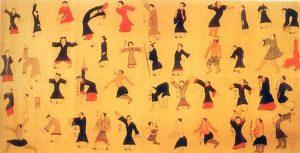 Rouleau de soie retrouvé dans le cercueil de la marquise de Dai représentant 44 personnages pratiquant le Dao Yin